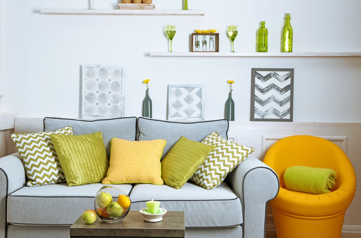 modern living room crowded with furniture, interior design mistakes