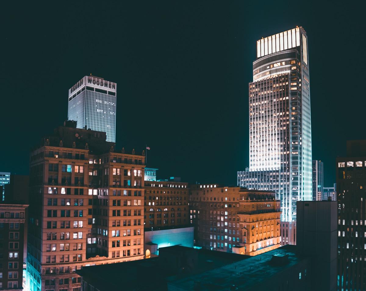 downtown omaha nebraska at night