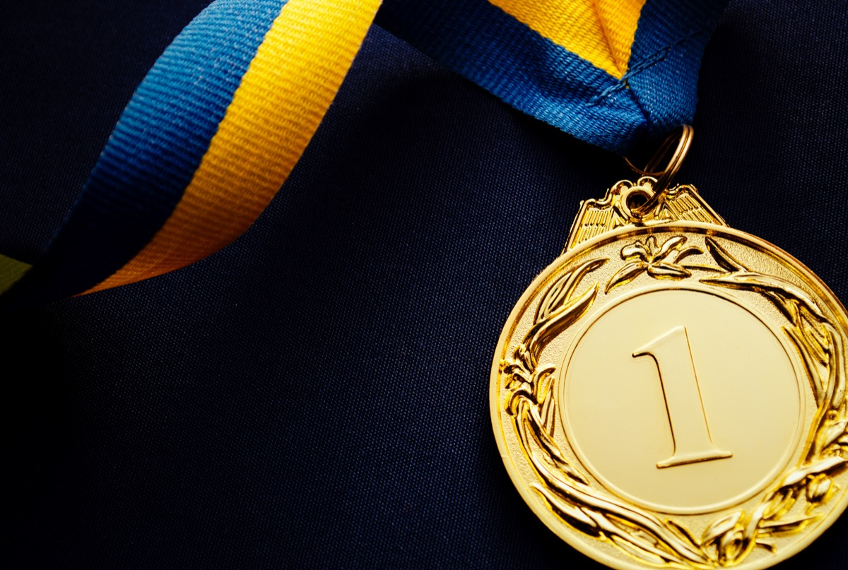 gold medal on the table,