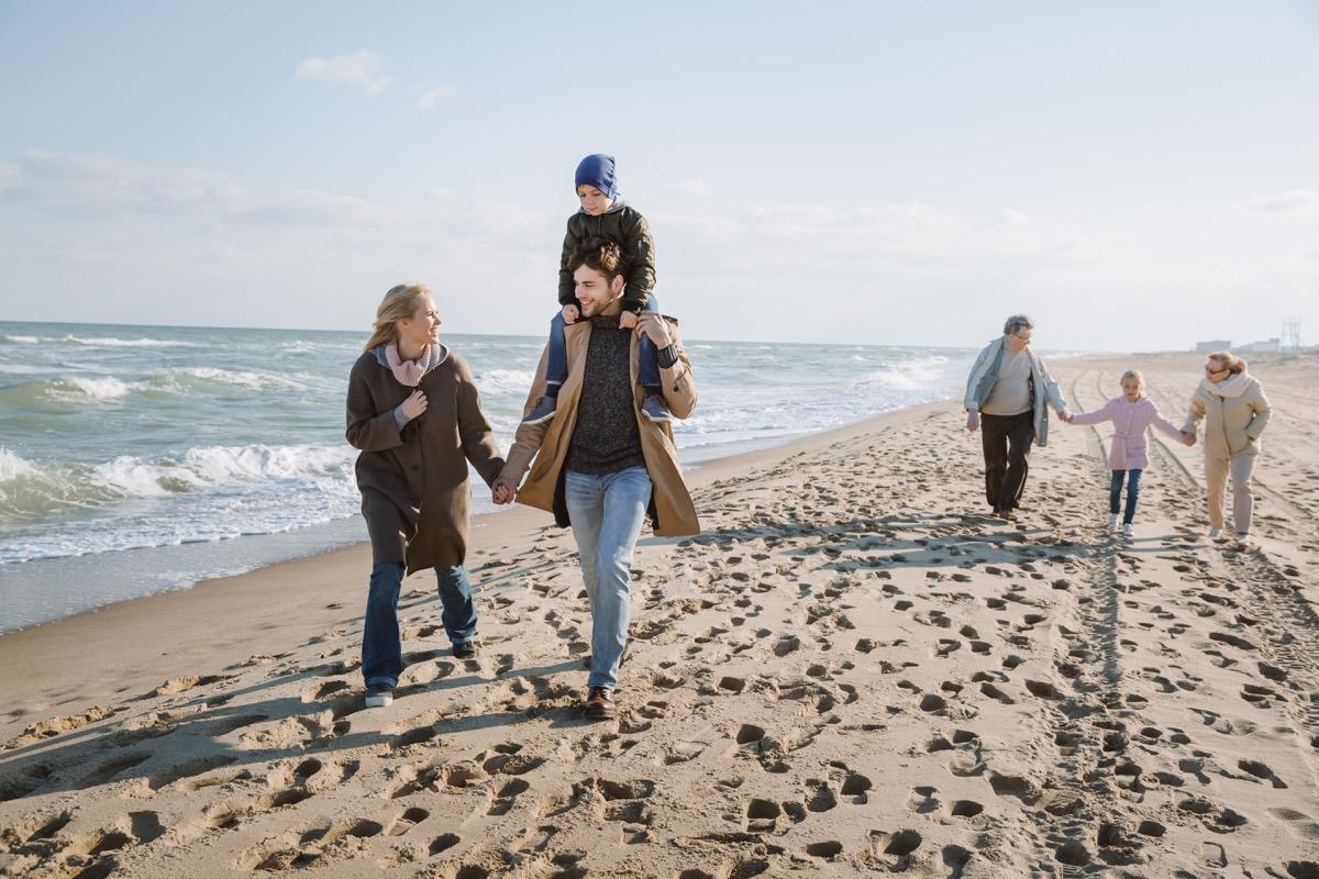 grandparents parents and grandparents on a beach