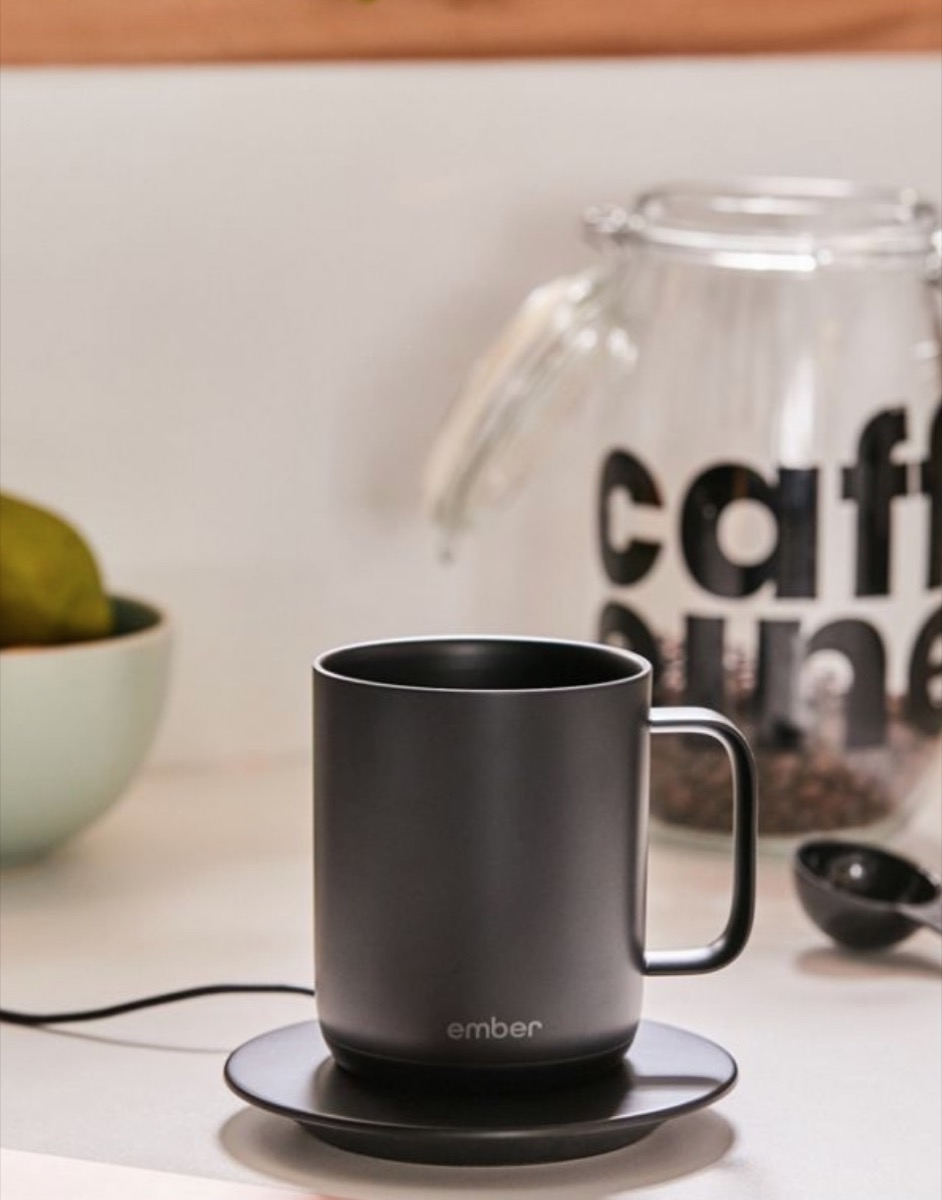 black ceramic mug and saucer, best gifts for college students