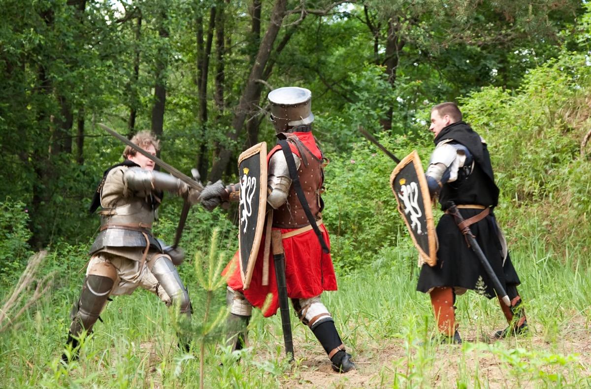 Truel among knights in reenactment
