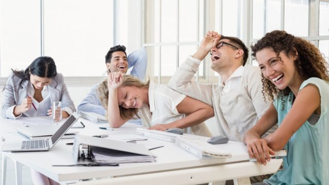people laughing in the office - funny work memes
