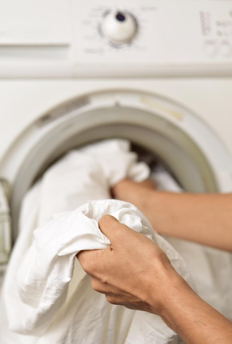 washing bedsheets