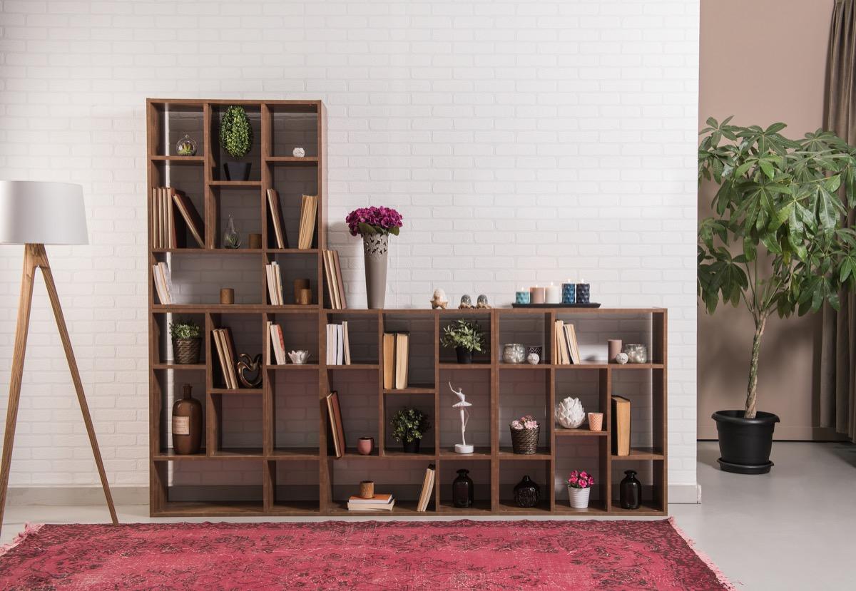 a modern mahogany bookshelf