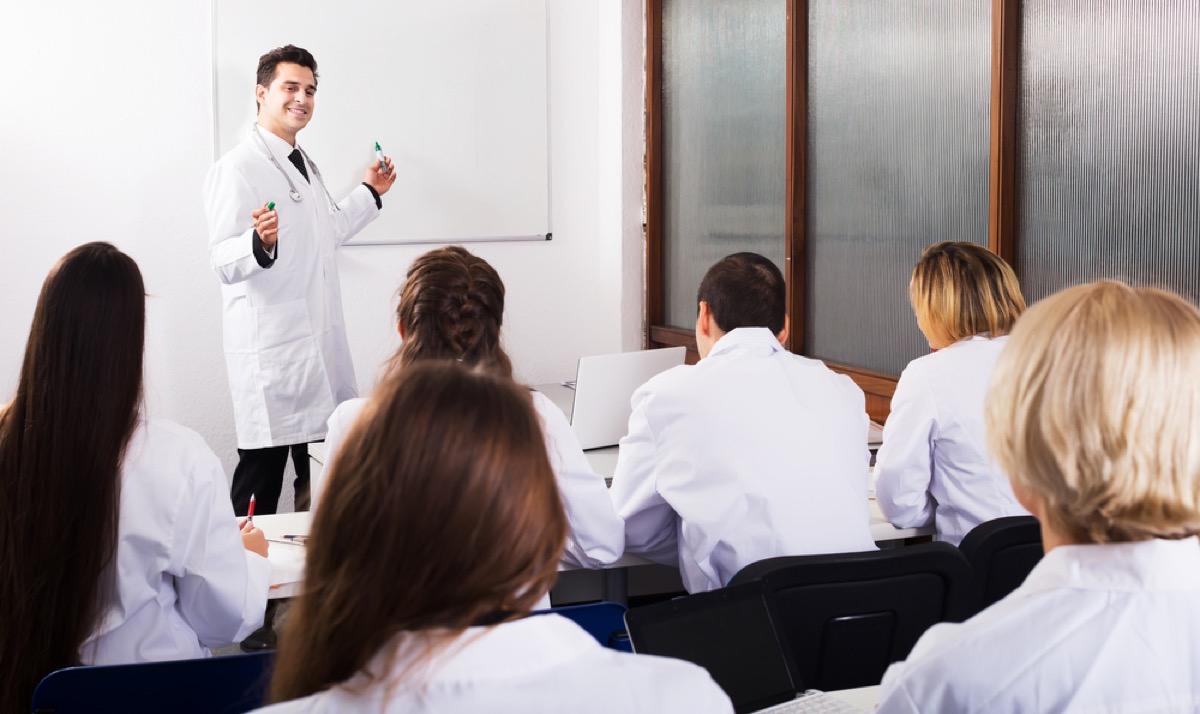 medical students in classroom with teacher, school nurse secrets