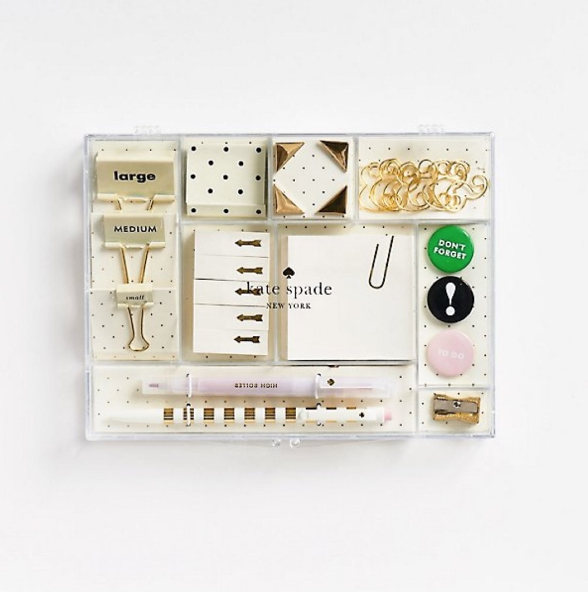 clear box of office supplies, best gifts for college students