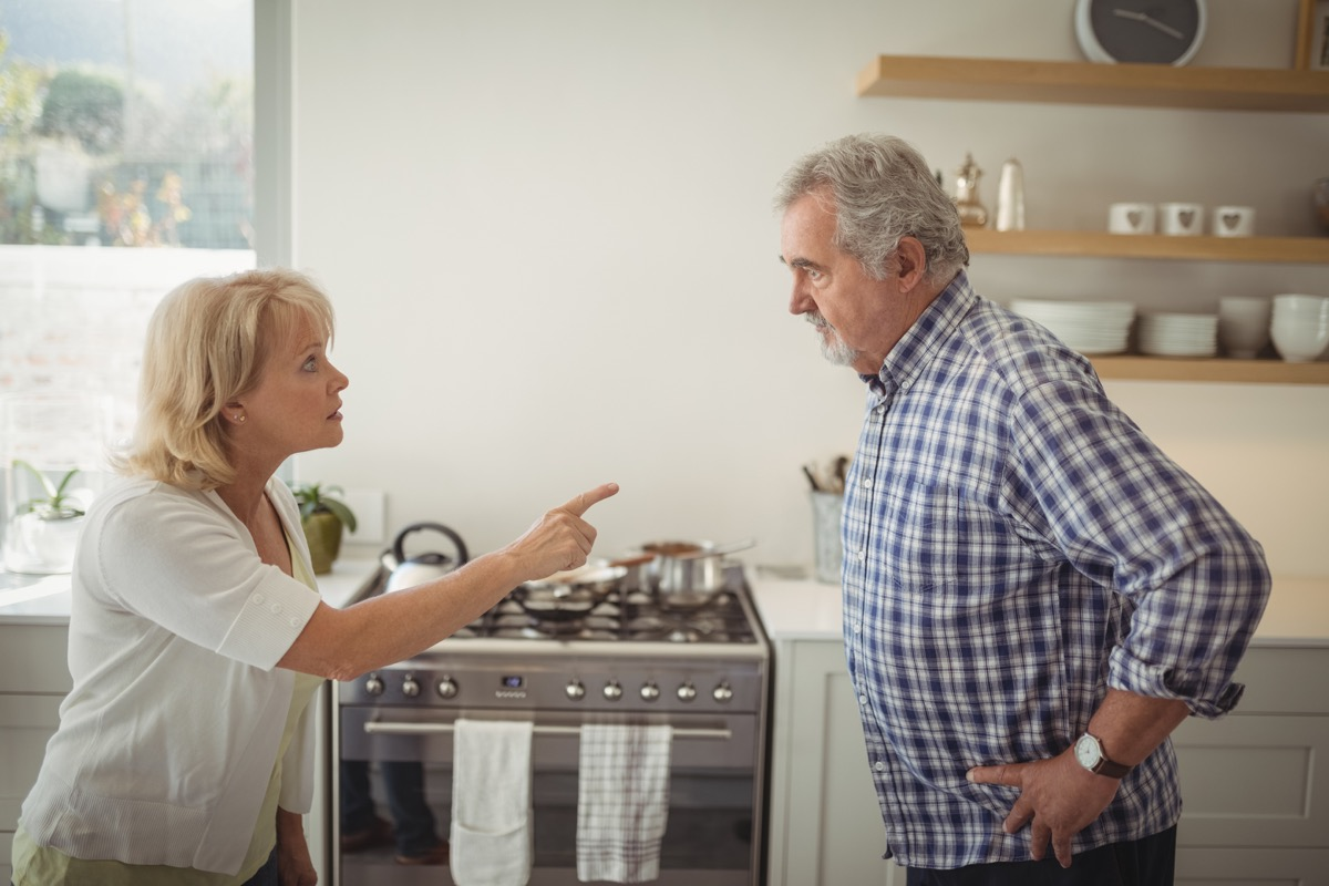 older couple fighting with each other, over 50 regrets
