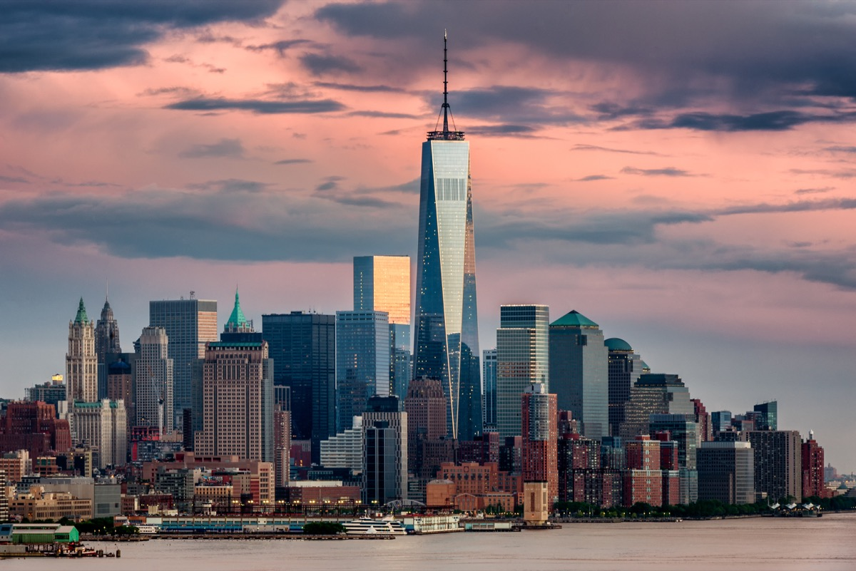 one world trade center in lower manhattan new york city at dusk