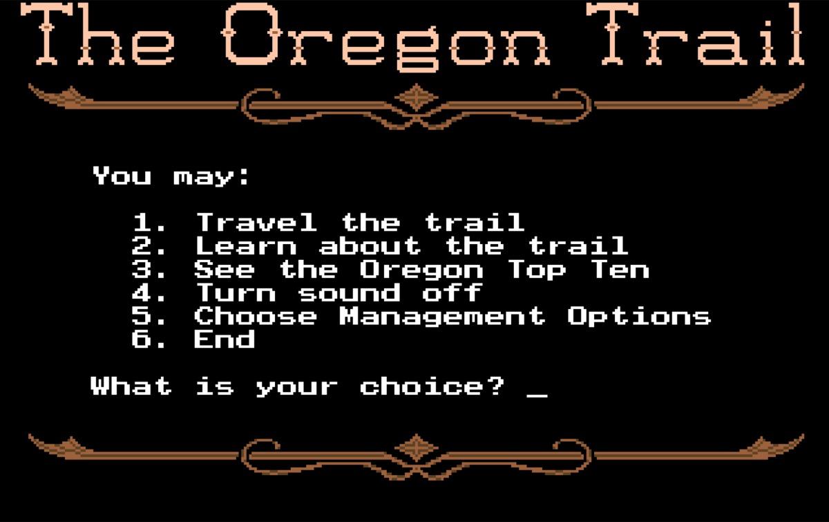 Oregon trail video game, 80s