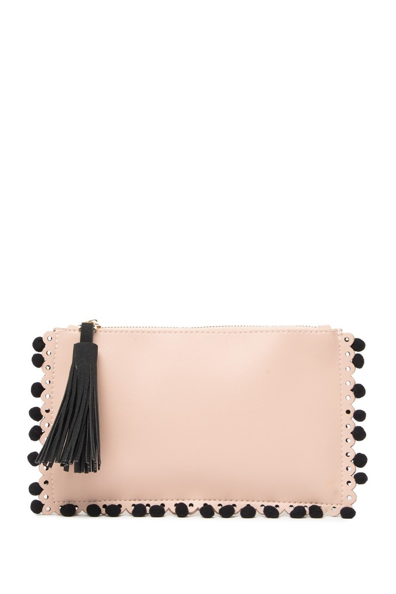 pink wristlet with black pom poms, best gifts for girlfriend