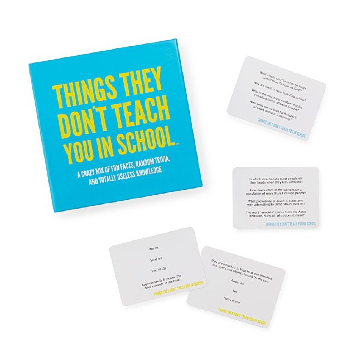 box and cards from things they don't teach you in school game, best gifts for college students