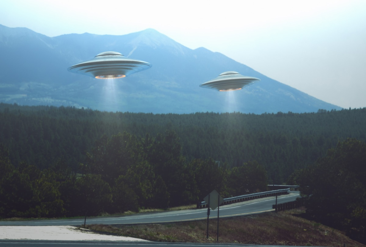 ufos flying over city