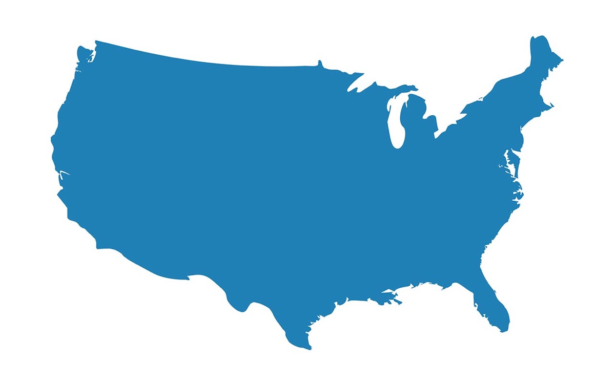 Solid blue map of the U.S.