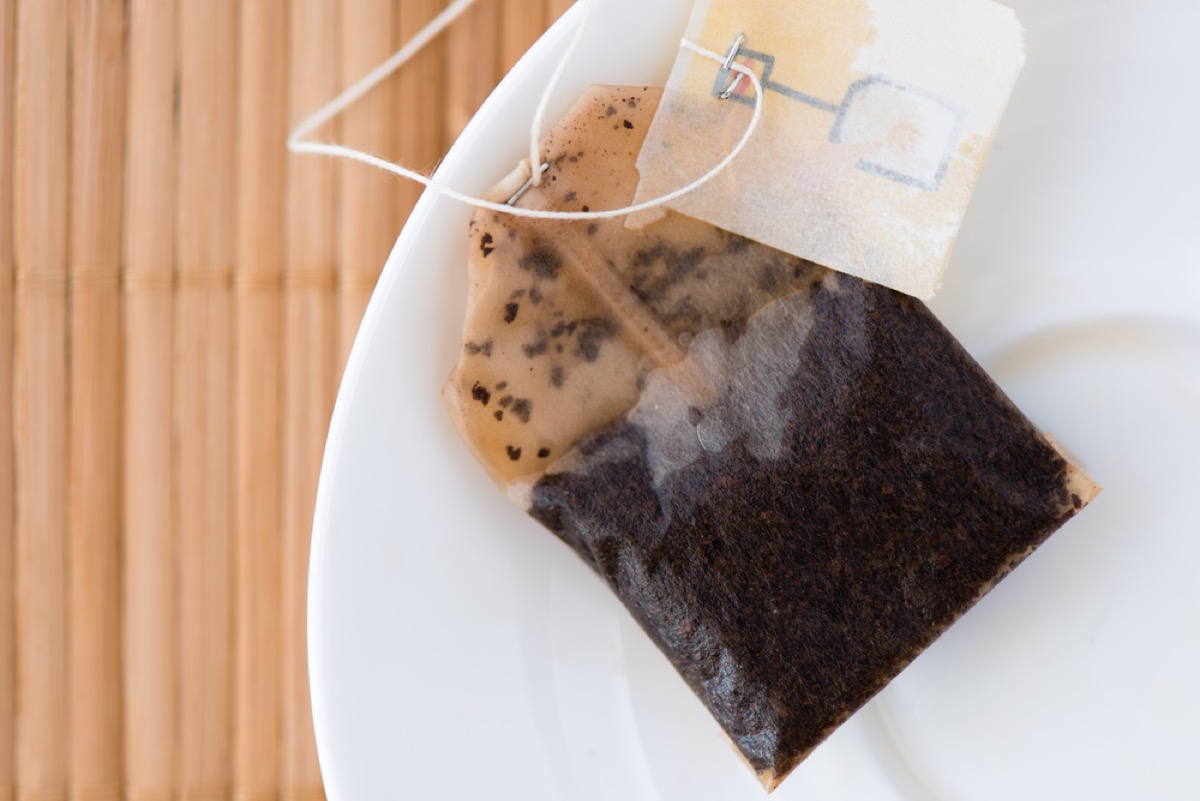 used tea bag on plate, old school cleaning tips