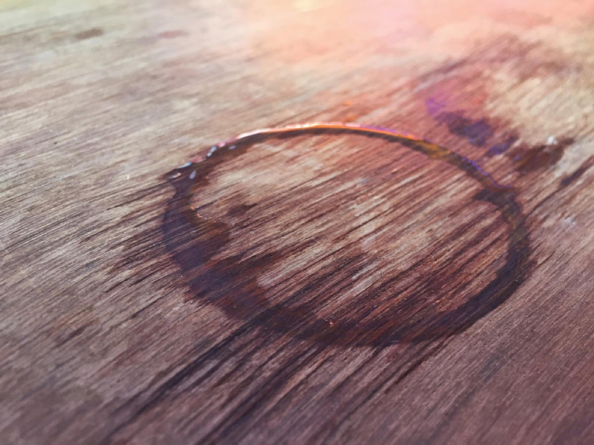 water ring on wooden table