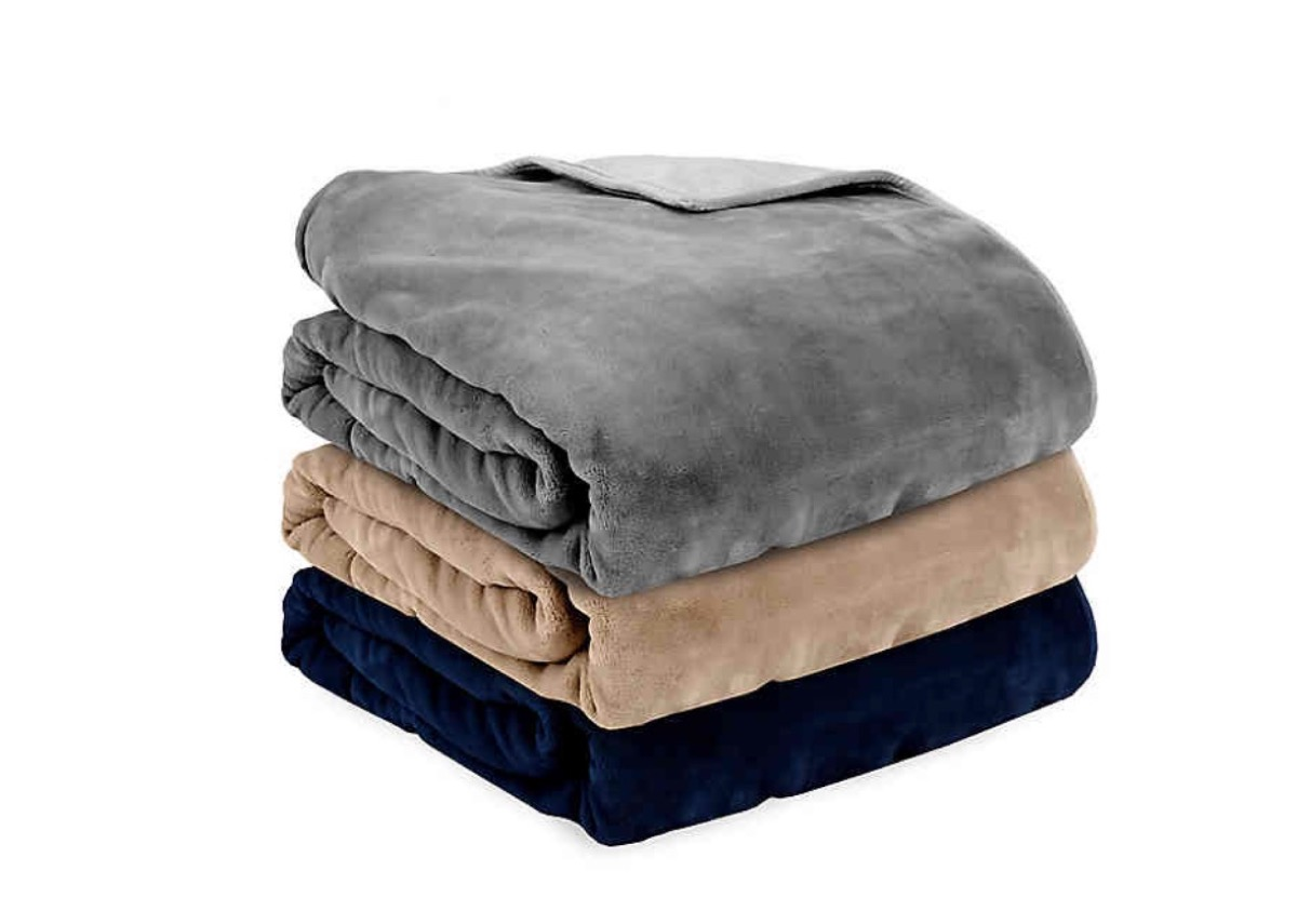 stack of weighted blankets