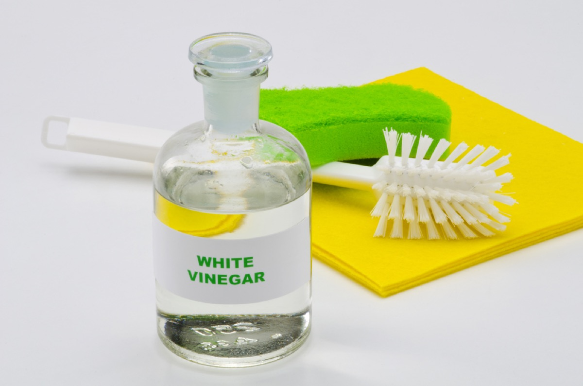 white vinegar and scrub brush