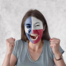 woman wearing texas flag face paint