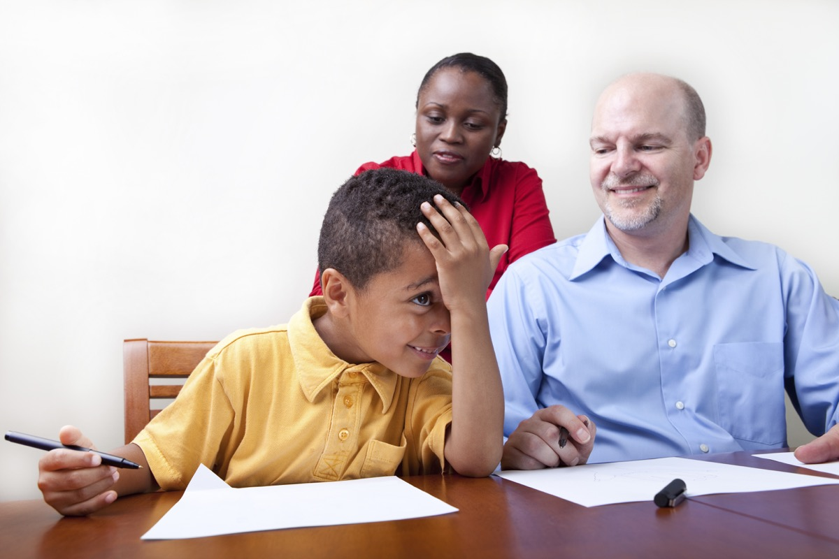 young child at parent teacher conference, over 50 regrets