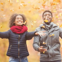 Black young couple in the fall, facts about fall