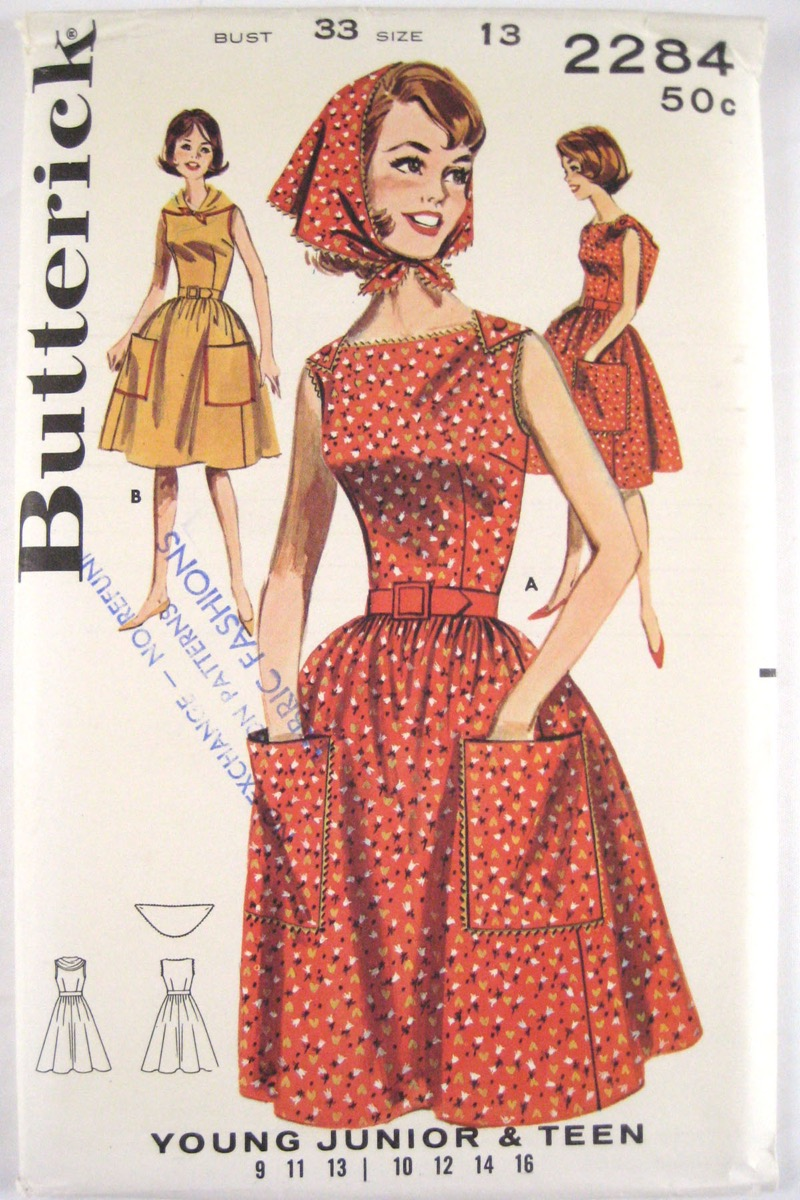 1960s fashion, headscarf matching dress, embarrassing trends