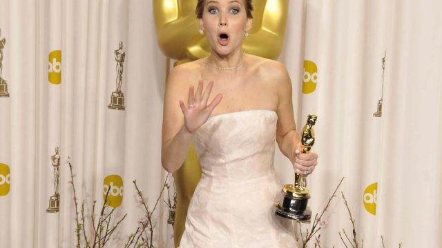 Jennifer Lawrence in the press room for The 85th Annual Academy Awards Oscars 2013, awards show flubs