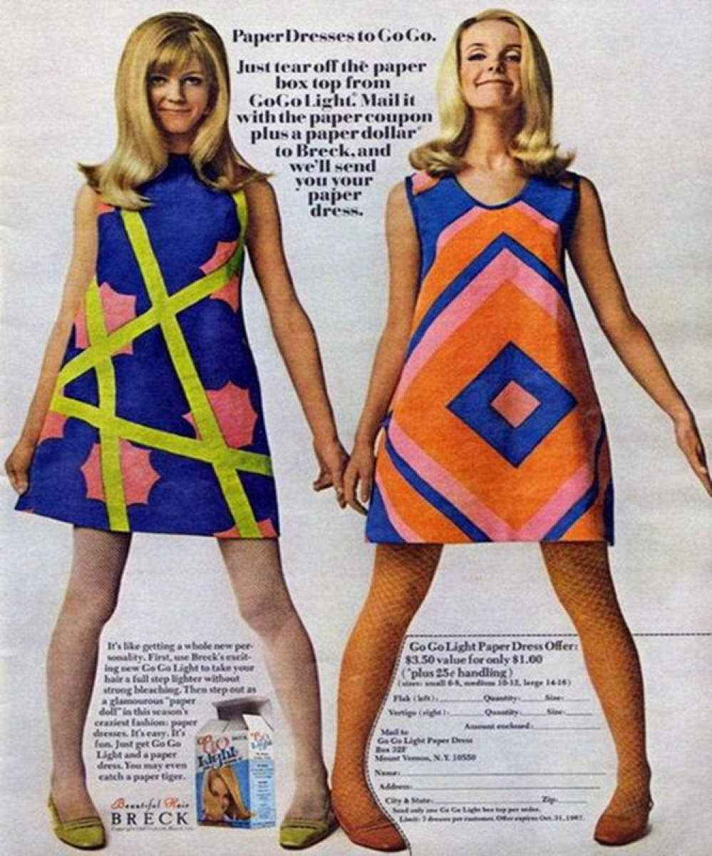Paper Dress, 1960s embarrassing fashion