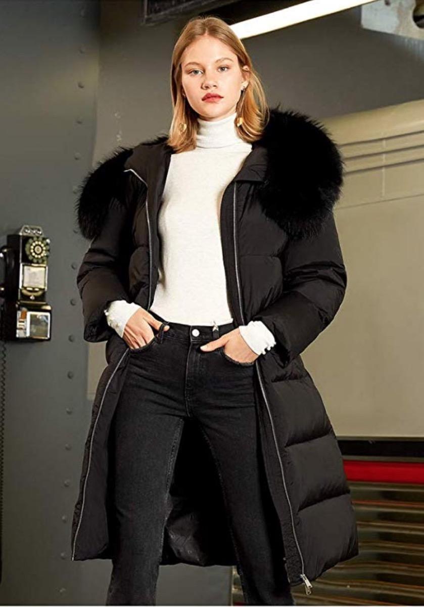 woman in black coat with fur, women's coats for winter