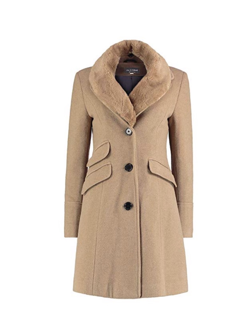 camel colored coat with fur collar, women's coats for winter