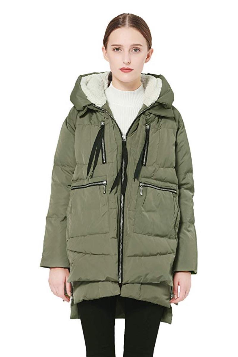woman in green puffer coat and black leggings, women's coats for winter