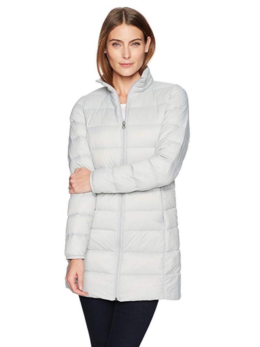woman in white puffer coat and black leggings, women's coats for winter