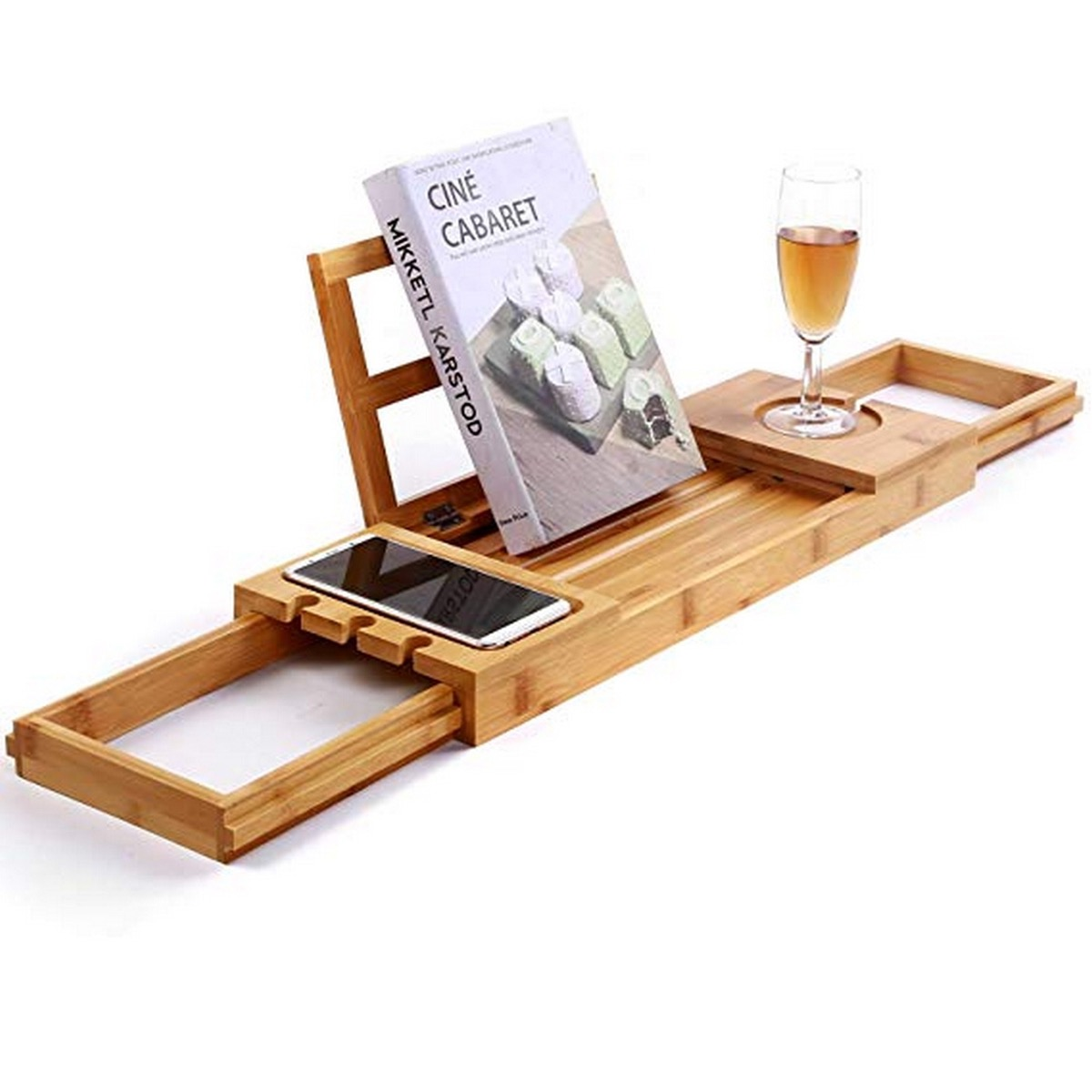 wooden tray with book and champagne and phone on it, bathroom accessories