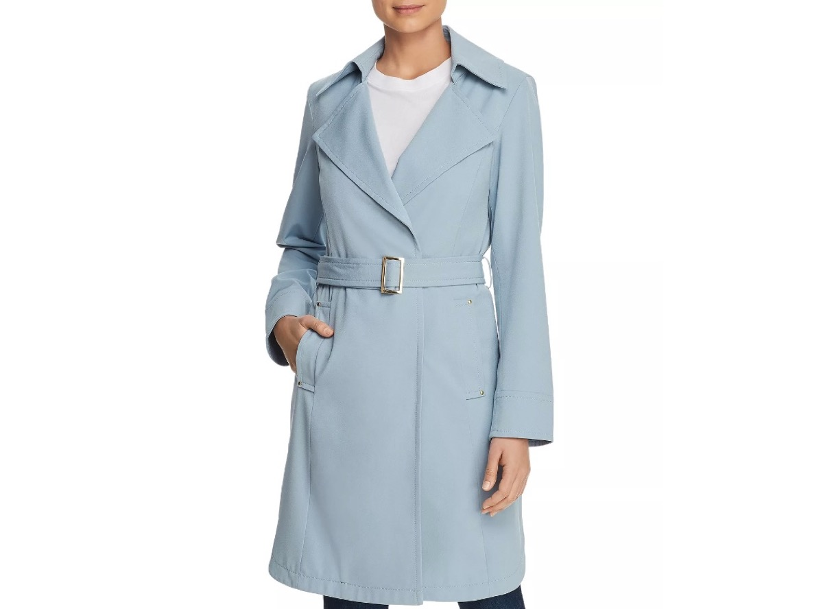 woman in blue belted trench coat, women's coats for winter