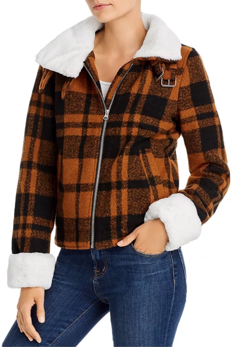 woman in brown plaid jacket, women's coats for winter
