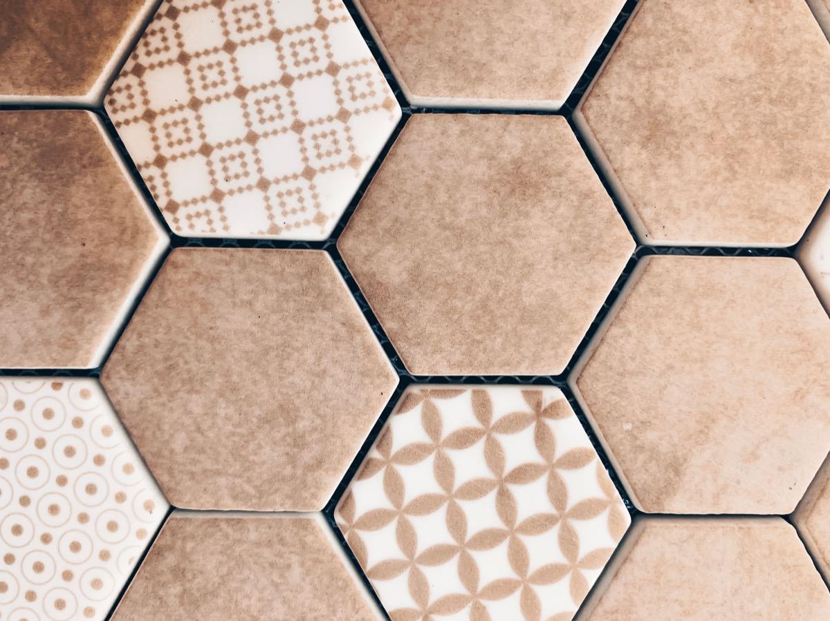 Brown mosaic hexagon floor tiles vintage home trends