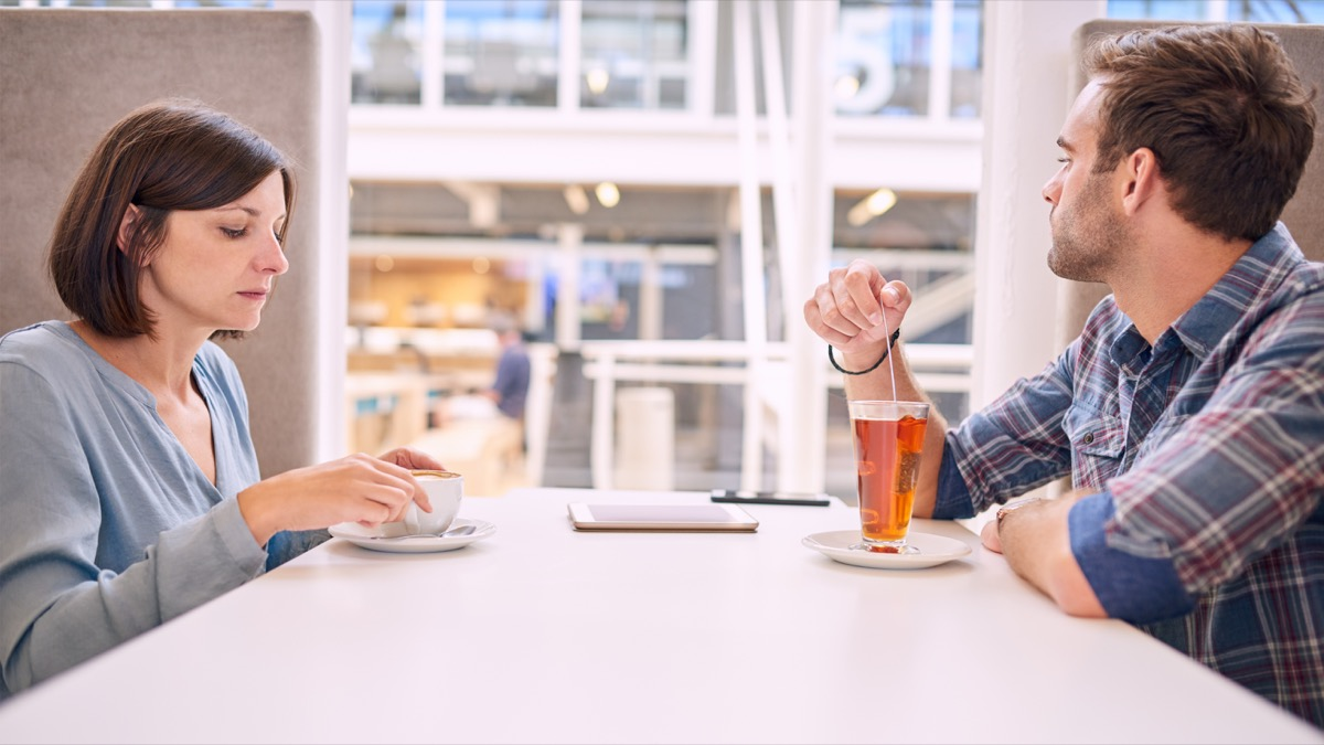 couple avoiding eye contact with each other, stress signs
