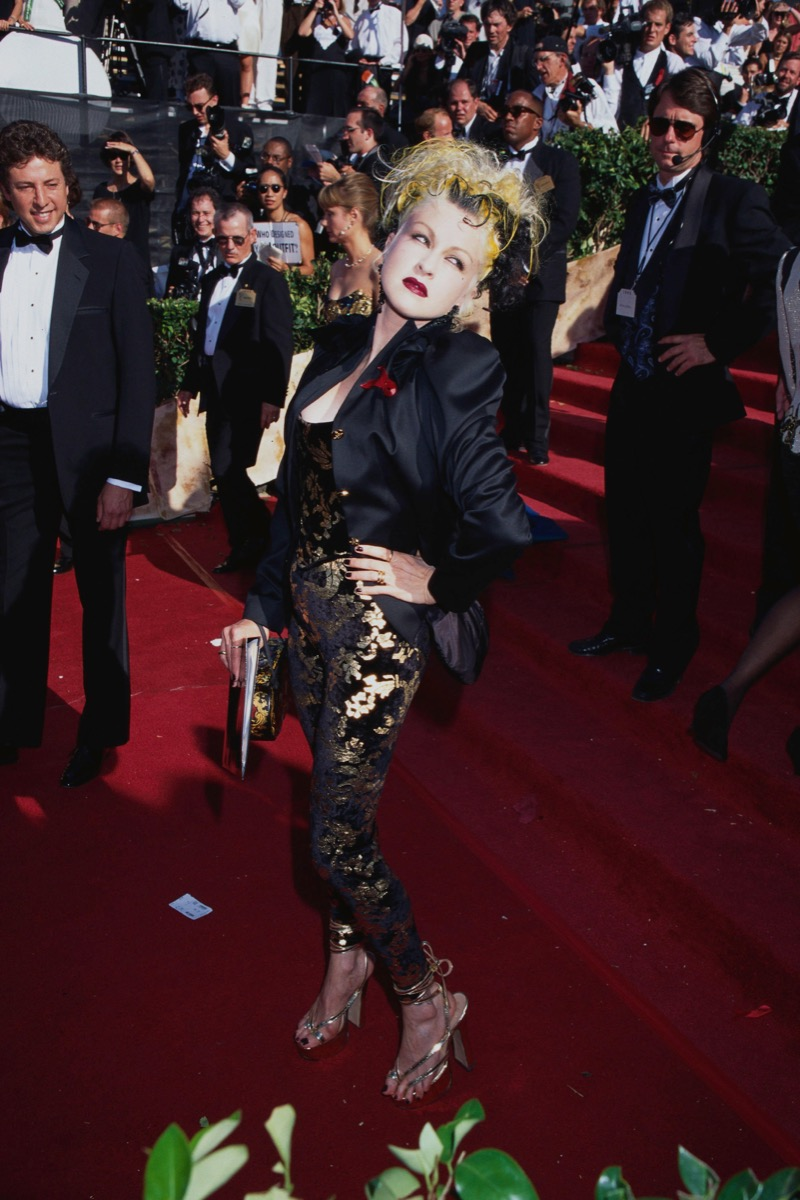 Cyndi Lauper at the Emmy Awards in 1995 Iconic Emmys Looks