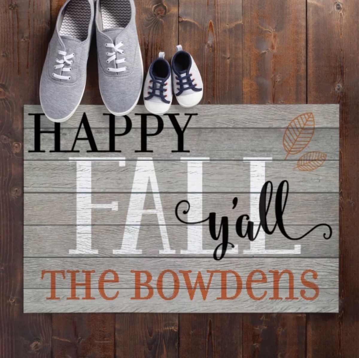 gray doormat with gray sneakers on it, fall home decor