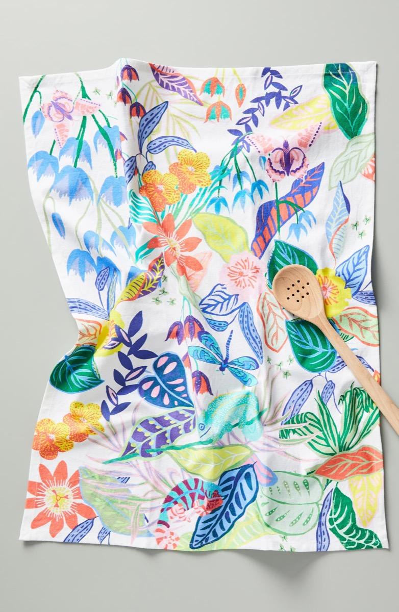 floral dish towel, kitchen decorations
