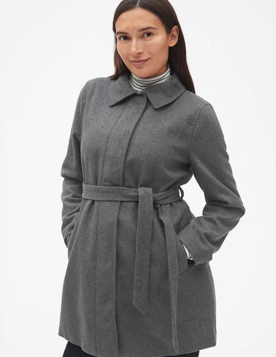 woman in gray maternity coat, women's coats for winter