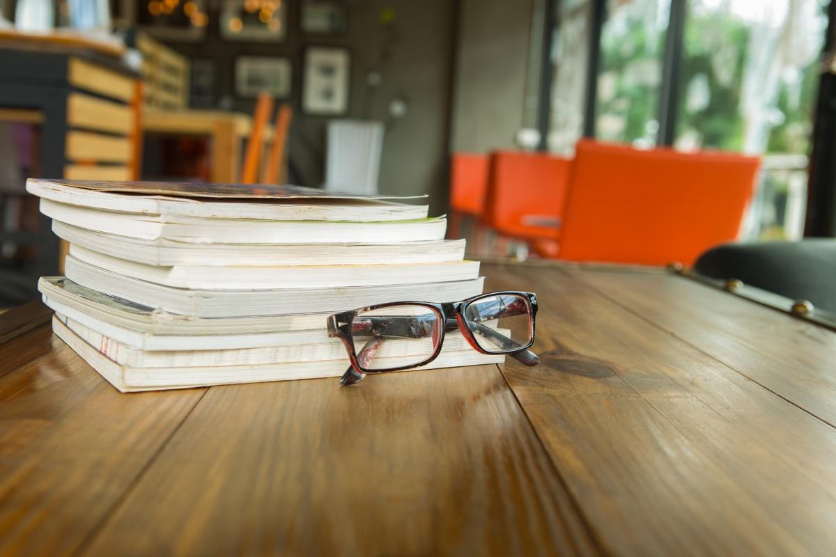 glasses on bookshelf