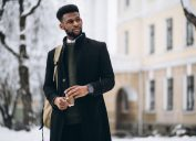 young man in black winter coat outdoors, winter coats for men