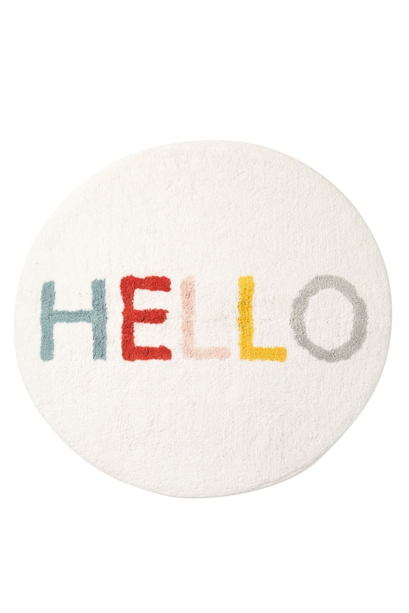 bath mat with the word hello on it, bathroom accessories