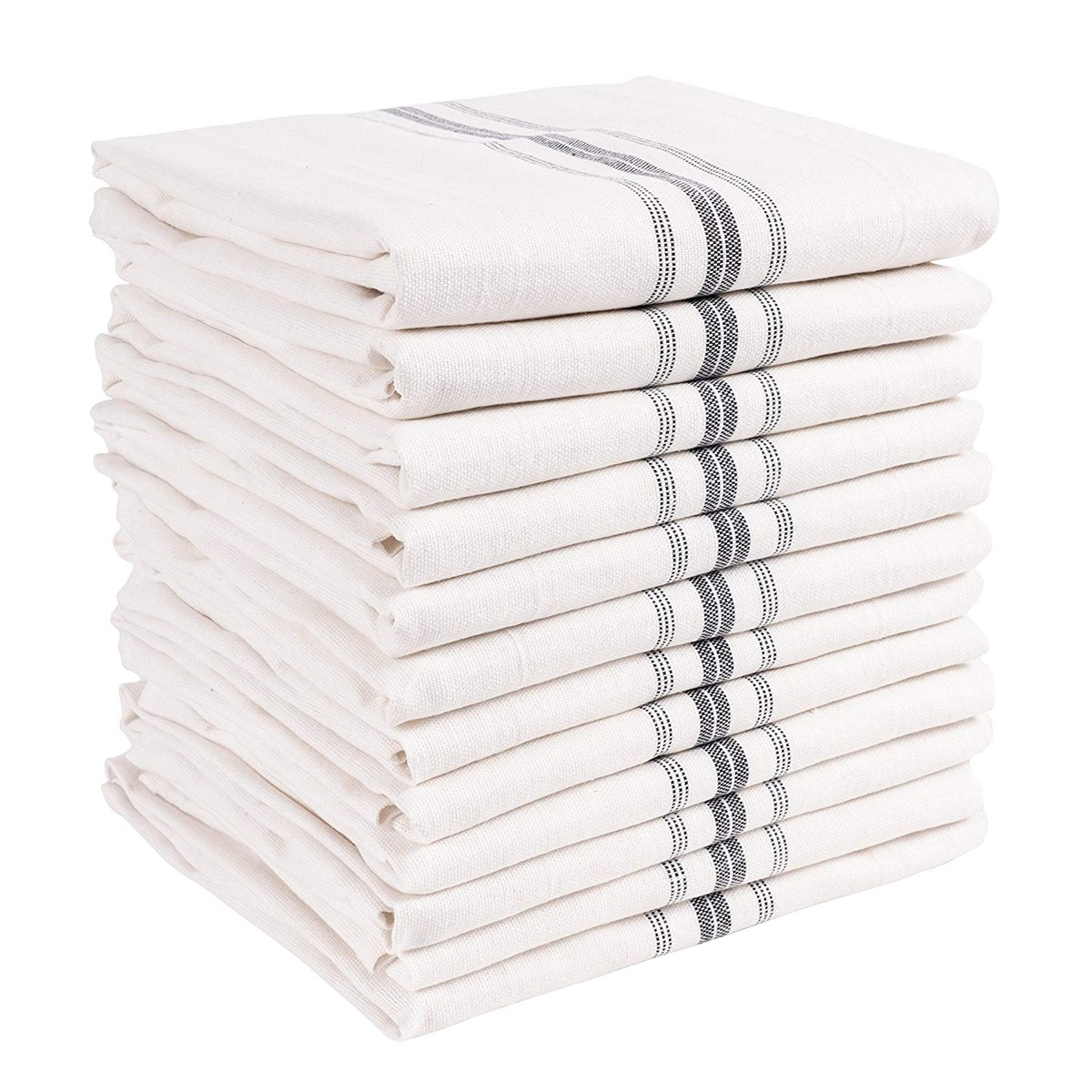 stack of white kitchen towels, rustic farmhouse decor