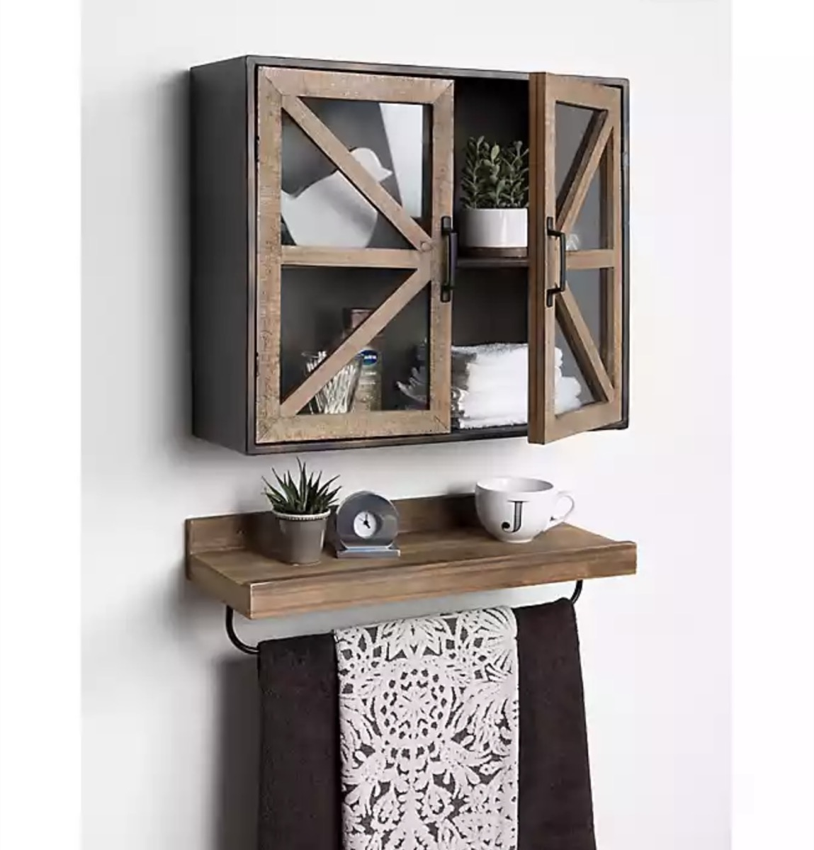 wooden medicine cabinet above wooden shelf, rustic farmhouse decor
