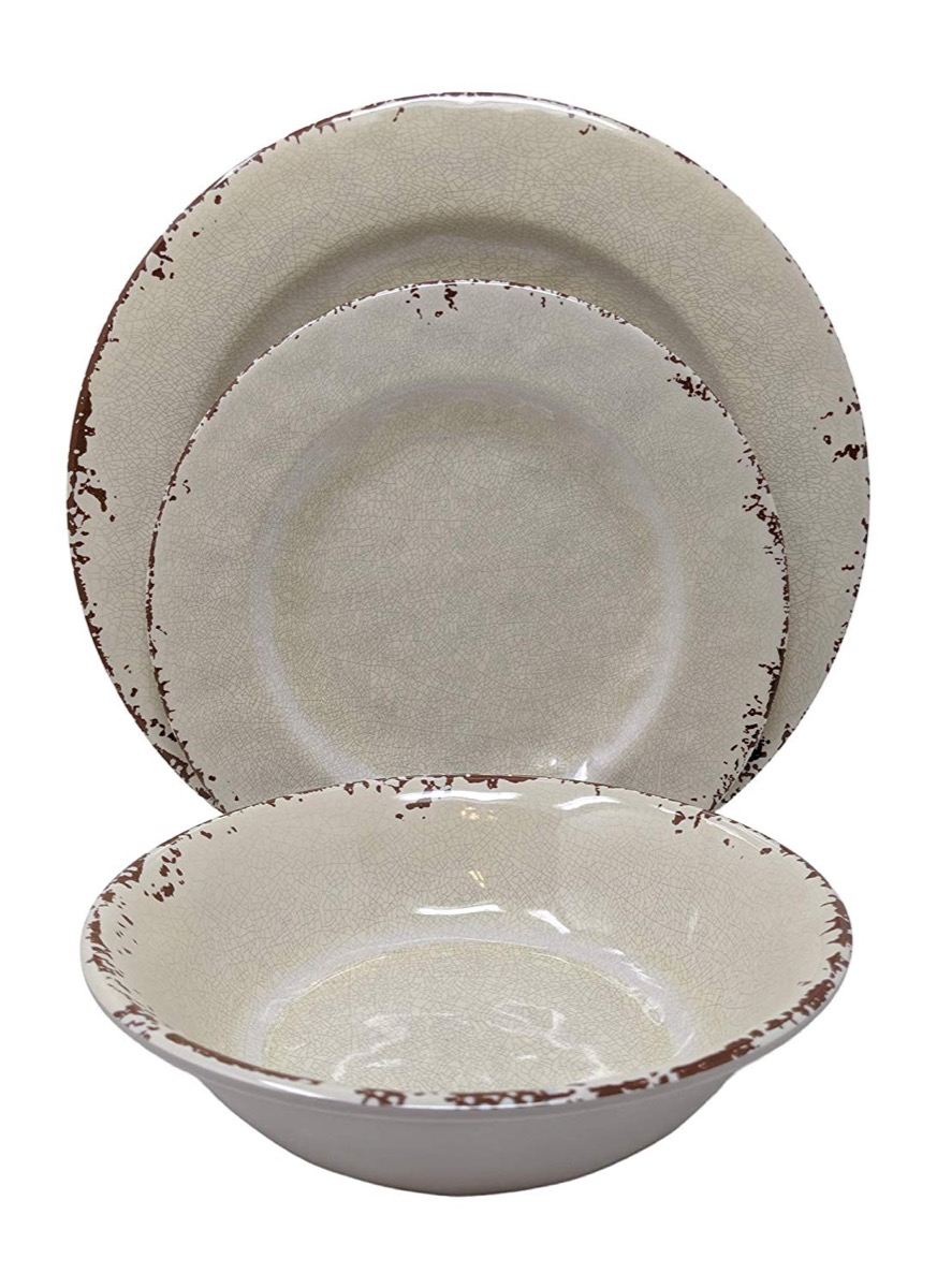 white plates with chipped edges, rustic farmhouse decor