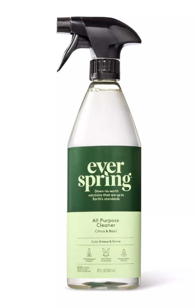 everspring cleaner in clear bottle with green label, earth friendly cleaning products