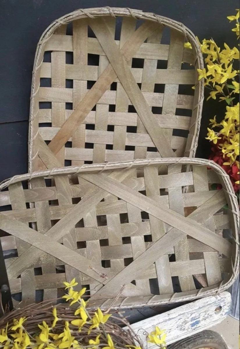 two woven wooden baskets, rustic farmhouse decor