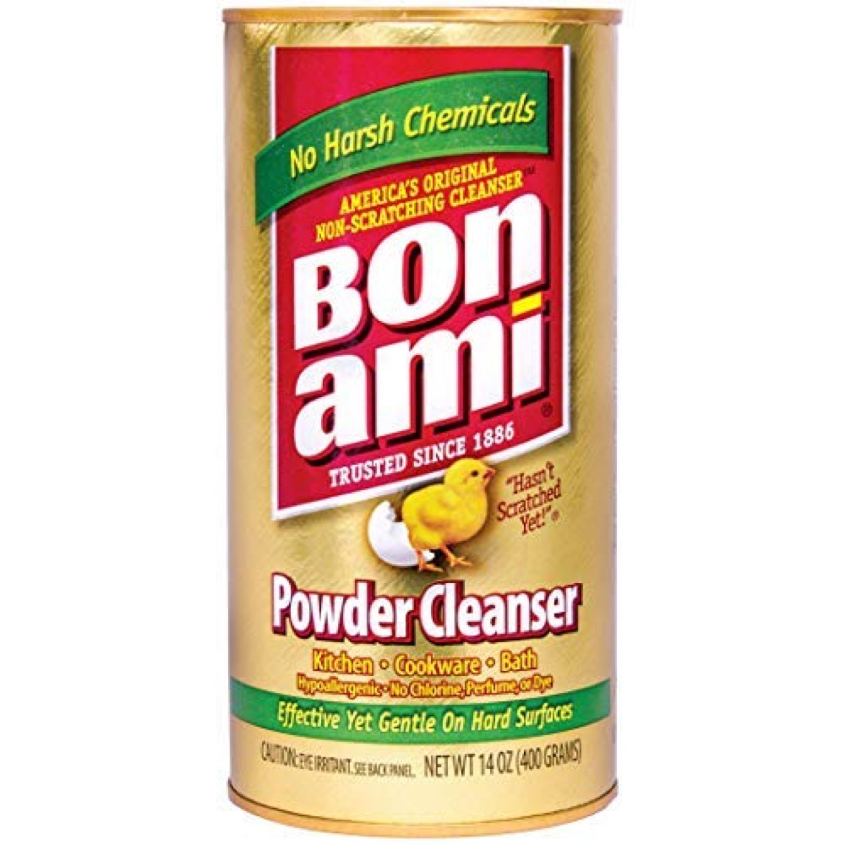 gold jar of bon ami cleanser, earth friendly cleaning products